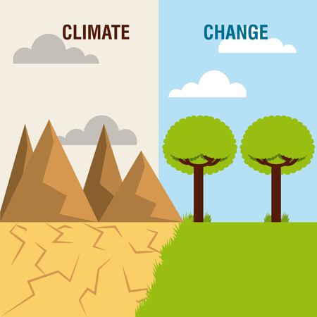 Ilustración de landscape divided green scene and desert mountain climate change vector illustration - Imagen libre de derechos