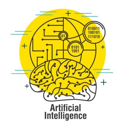 Ilustración de artificial intelligence brain world code binary thin line vector illustration - Imagen libre de derechos