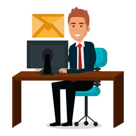 Illustration pour Businessman in workplace character vector illustration design. - image libre de droit