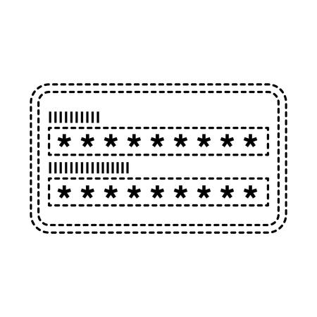 Ilustración de security access password login protection vector illustration dotted line graphic - Imagen libre de derechos