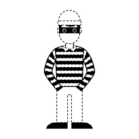 Illustrazione per hacker male character with mask and striped shirt vector illustration dotted line graphic - Immagini Royalty Free