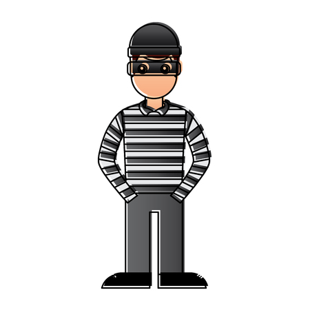 Illustrazione per hacker male character with mask and striped shirt vector illustration - Immagini Royalty Free