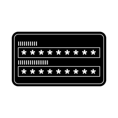 Ilustración de security access password login protection vector illustration black and white graphic - Imagen libre de derechos