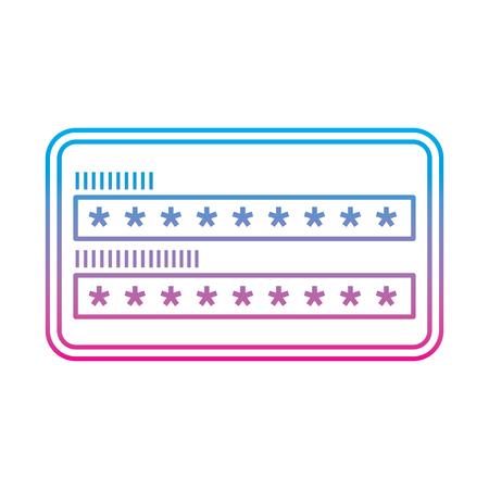 Ilustración de security access password login protection vector illustration degrade color line graphic - Imagen libre de derechos