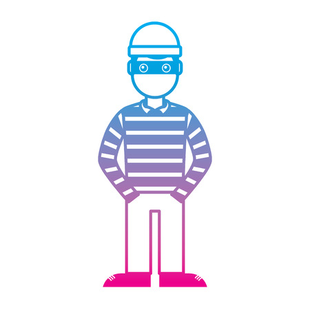 Illustrazione per hacker male character with mask and striped shirt vector illustration degrade color line graphic - Immagini Royalty Free