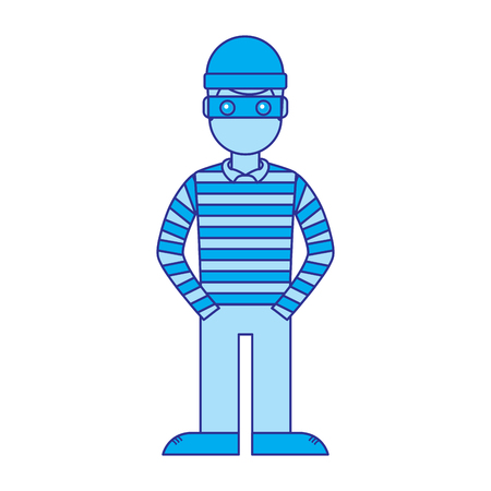 Illustration pour hacker male character with mask and striped shirt vector illustration blue image - image libre de droit