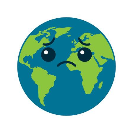 Illustration for cartoon earth globe planet sad character vector illustration - Royalty Free Image