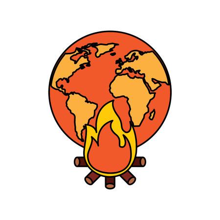 Ilustración de Burning Earth vector illustration - Imagen libre de derechos