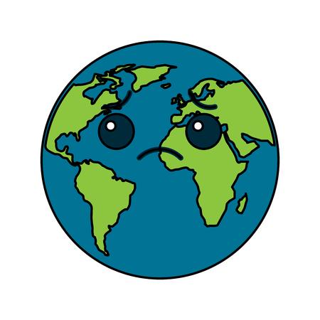 Illustration for Sad Cartoon Earth icon - Royalty Free Image