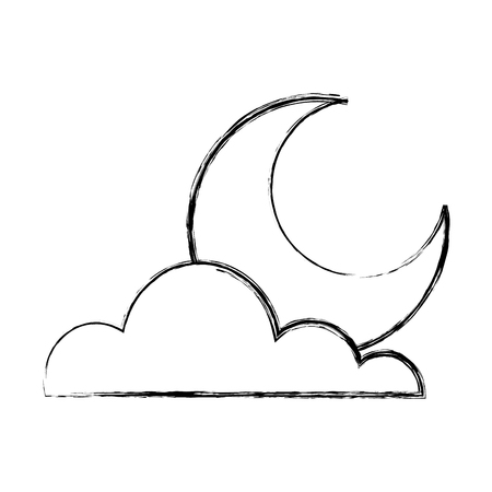 Illustration for cloud half moon weather sky image vector illustration - Royalty Free Image
