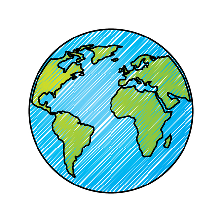Illustration for Globe world earth planet map icon vector illustration drawing graphic - Royalty Free Image