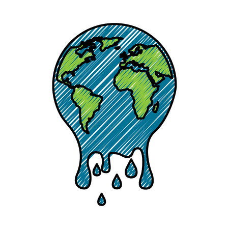 Illustration for Melting  planet earth warming environment concept illustration. - Royalty Free Image