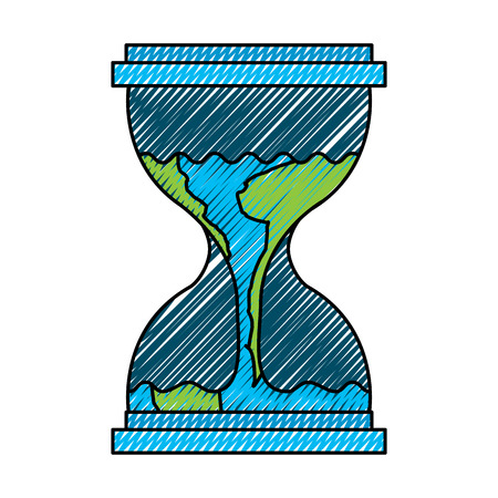 Illustration for Hourglass with planet earth flowing melting illustration - Royalty Free Image