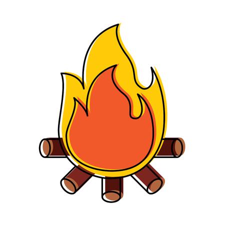 Ilustración de Burning bonfire flame with wooden sticks vector illustration - Imagen libre de derechos