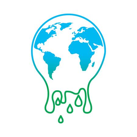Illustrazione per Melting planet earth warming environment concept illustration. - Immagini Royalty Free