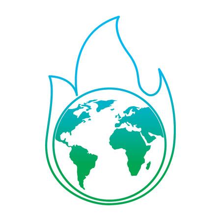 Ilustración de Planet earth on fire disaster warning concept illustration - Imagen libre de derechos