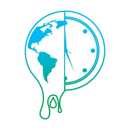 Ilustración de Melting planet earth and clock illustration. - Imagen libre de derechos