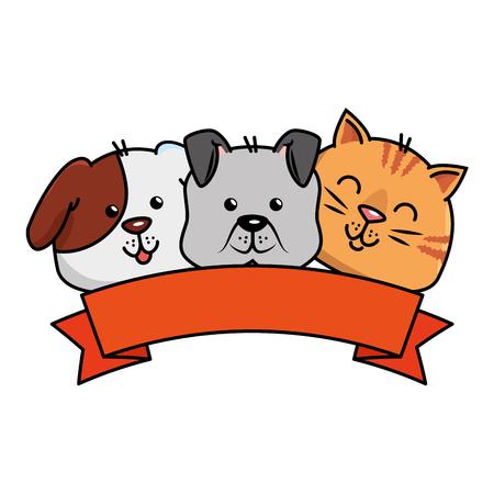 Illustration pour cute dog and cat with ribbon vector illustration design - image libre de droit