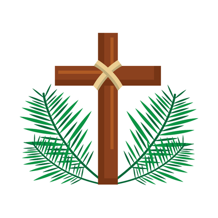 Illustrazione per sacred cross religious with frond branches vector illustration - Immagini Royalty Free