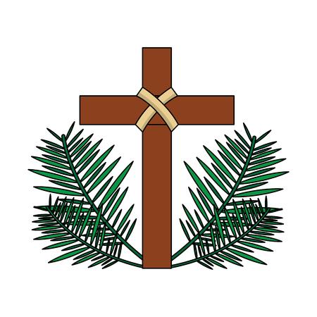 Ilustración de sacred cross religious with frond branches vector illustration - Imagen libre de derechos