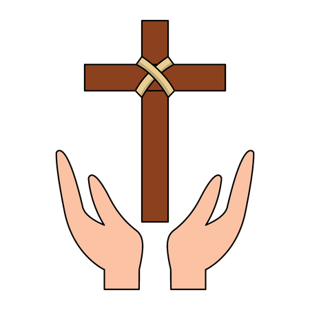 Illustration for hands praying the sacred cross christianity vector illustration - Royalty Free Image