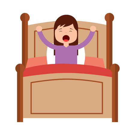 Illustrazione per wake up morning the young girl in bed vector illustration - Immagini Royalty Free