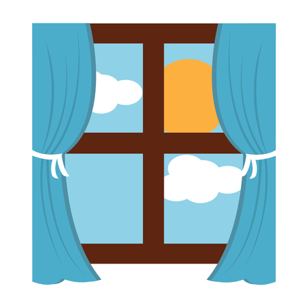 Illustration pour wooden window frame with curtains and sun clouds sky vector illustration - image libre de droit