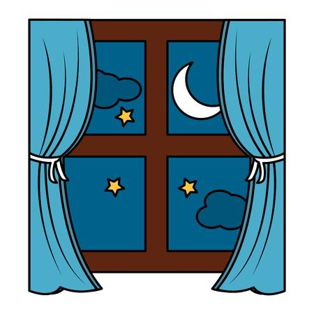 Illustration pour window with curtains nighttime  icon image vector illustration design  - image libre de droit