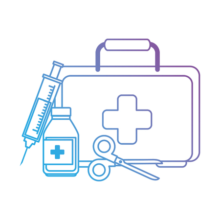 Illustration pour medical kit with scissors and bottle vector illustration design - image libre de droit