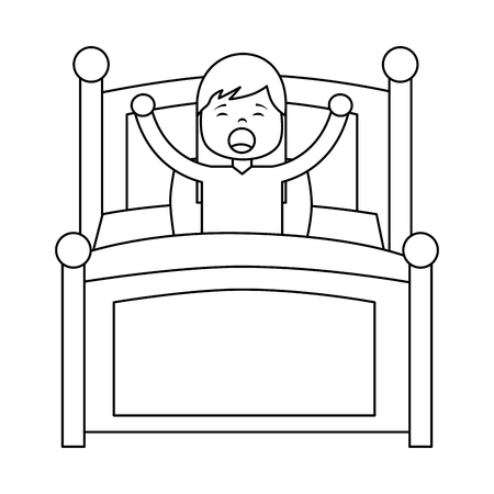 Illustrazione per wake up morning the young girl in bed vector illustration outline design - Immagini Royalty Free