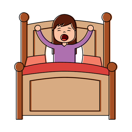Illustrazione per Hand drawn young girl in bed vector illustration - Immagini Royalty Free