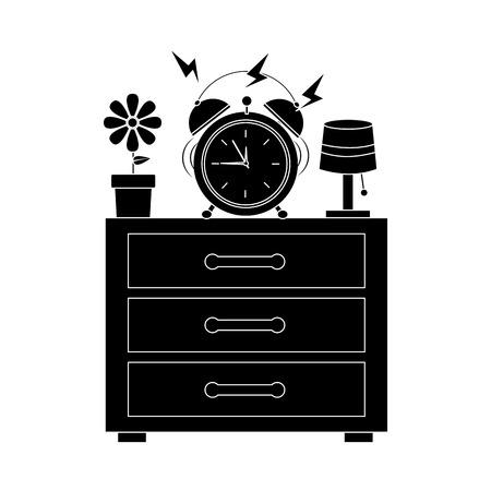 Illustration pour Alarm clock ringing on night table icon image vector illustration design - image libre de droit