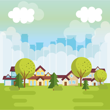 Ilustración de A landscape with neighborhood scene vector illustration design - Imagen libre de derechos