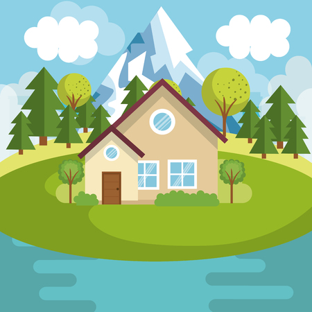 Illustration pour A landscape with house and lake scene vector illustration design - image libre de droit