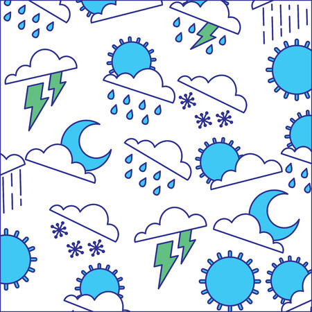 Illustration for weather clouds sun moon storm lightning rain drops background vector illustration - Royalty Free Image