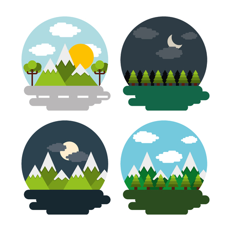 Illustration pour Set of landscape day night mountains forest vector illustration - image libre de droit