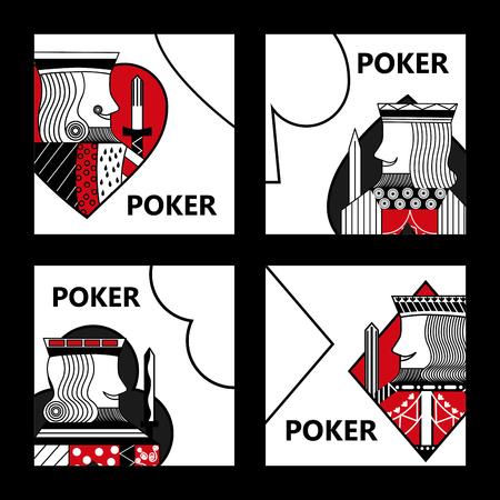 Ilustración de Poker card sign king casino gamble set vector illustration - Imagen libre de derechos
