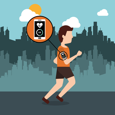 Ilustración de young man running with smartphone heart rate and city background vector illustration - Imagen libre de derechos