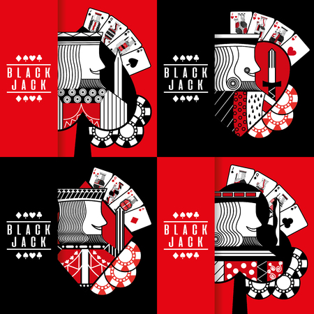 Illustration for Black jack poker casino gambling king chip collection vector illustration - Royalty Free Image