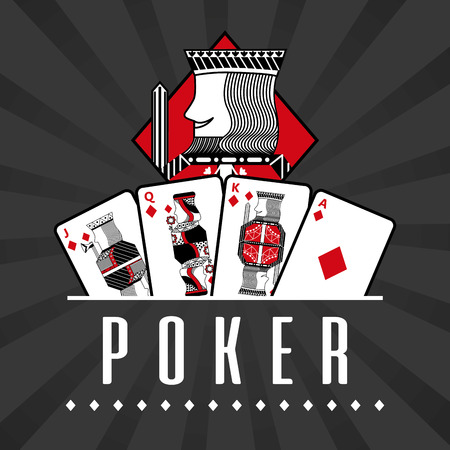 Illustration for Deck of card casino poker king diamond black rays background vector illustration - Royalty Free Image