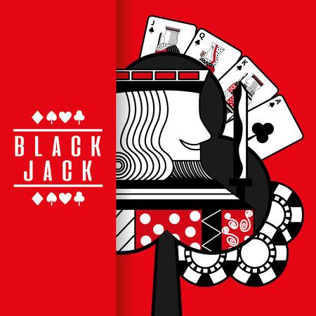 Ilustración de black jack casino poker cards king chip red background vector illustration - Imagen libre de derechos