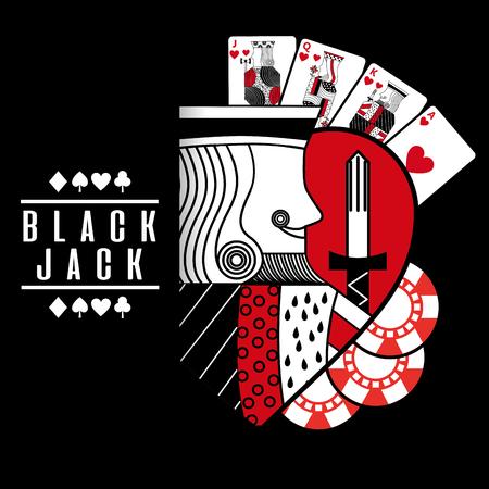 Ilustración de black jack heart king cards chip black background vector illustration - Imagen libre de derechos