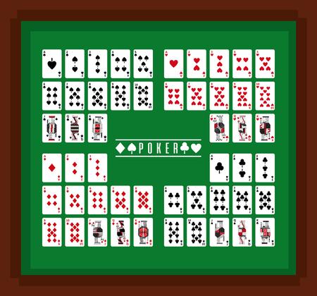 Ilustración de Poker playing cards casino on table set vector illustration - Imagen libre de derechos