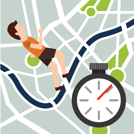 Illustration for Sport man jogging navigation map route chronometer vector illustration - Royalty Free Image