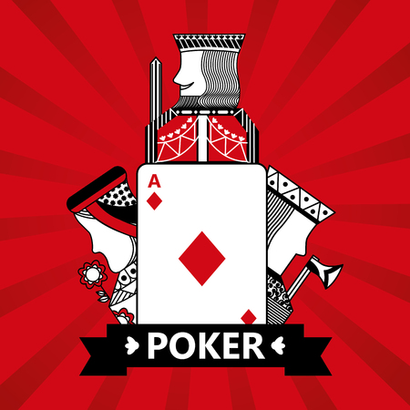 Ilustración de diamond ace jack king and queen cards playing poker red  background vector illustration - Imagen libre de derechos