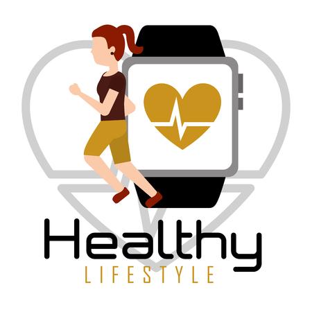 Ilustración de Woman running with smartphone heart rate healthy lifestyle vector illustration - Imagen libre de derechos