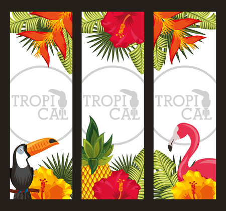 Illustration pour set tropical flower with leaves, birds animal. horizontal banners vector illustration - image libre de droit