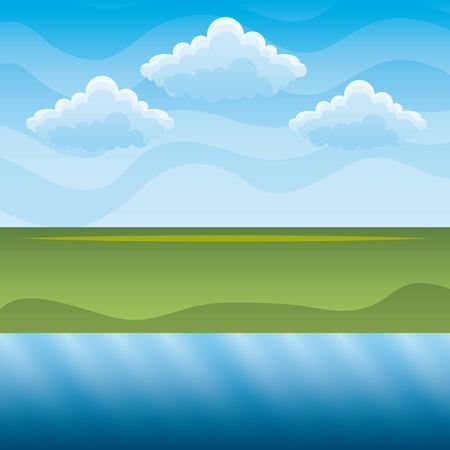 Illustration pour Green hills and blue river sky landscape vector illustration for clean environment concept - image libre de droit