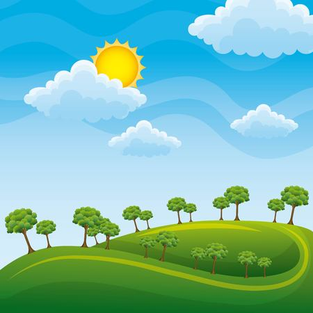 Illustration pour Green landscape with trees clouds meadow vector illustration, clean environment concept - image libre de droit
