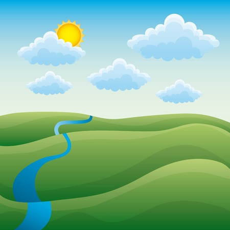 Ilustración de Cartoon natural scene landscape with green hills river cloud sun vector illustration - Imagen libre de derechos